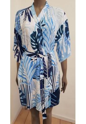 Dames kimono blauwe palmen...
