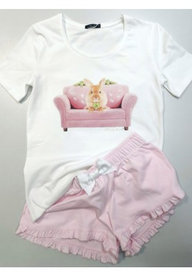 Meisjes pyjama wit pink...