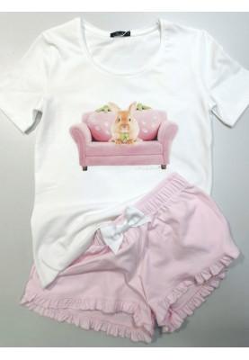 Dames pyjama wit pink...