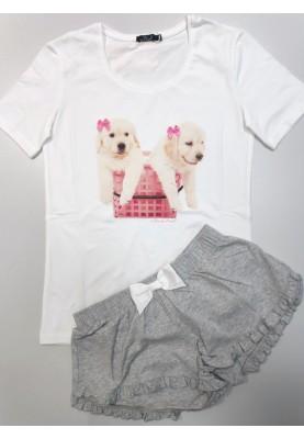 Dames pyjama wit grijs Dogs...