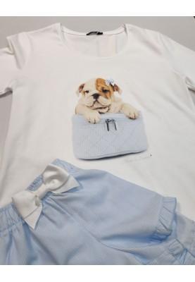Dames pyjama wit blauw Dog...