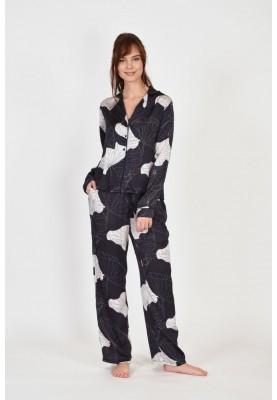 Dames pyjama anthraciet met...