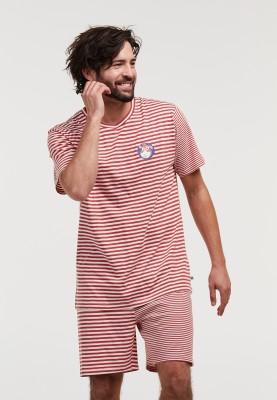 Heren pyjama donkerrood wit...