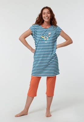 Dames pyjama blauwrood...