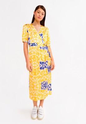 Dames kleed geel en blauw...