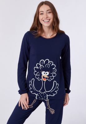 Dames pyjama donkerblauw...