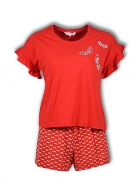 Dames pyjama fel rood...